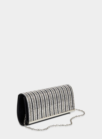 Crystal Embellished Clutch, Silver,  crystals, beads, metallic, flapover