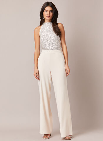 Sequin Wide Leg Jumpsuit, Off White,  fall winter 2020, jumpsuit, sequin, wide leg, crepe, mock neck, sleeveless, pockets, holiday, winter, bright, sparkle, shine