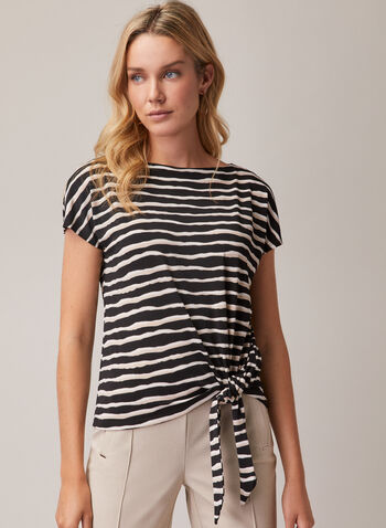 Stripe Print Tie Detail Top, Black,  top, boat neck, short sleeves, striped, crepe, tie detail, spring summer 2020