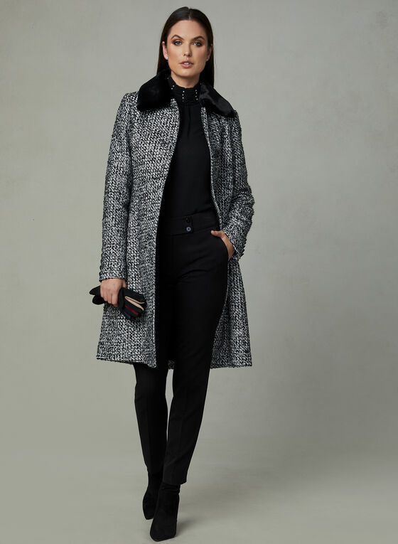 Removable Collar Tweed Coat, Black, hi-res