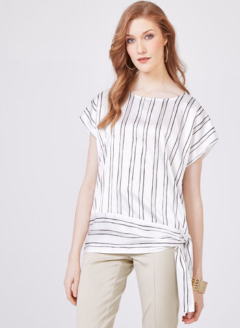 Stripe Print Blouse, White, hi-res