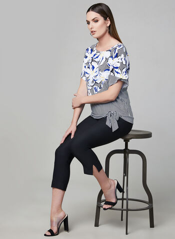 Stripe Print Side Tie Top, Blue, hi-res
