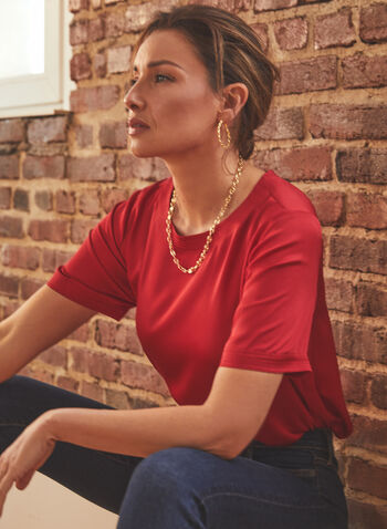 Vince Camuto - Short Sleeve Blouse, Red,  top, blouse, short sleeves, keyhole, round neck, satin, textured, spring summer 2021