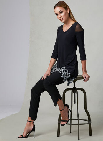 Joseph Ribkoff - Floral Lace Appliqué Top, Black, hi-res