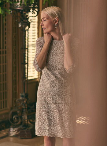 Eliza J - Lace and Sequin Dress, Off White,  cocktail dress, 3/4 sleeve, lace, sequin, boat neck, Spring 2020