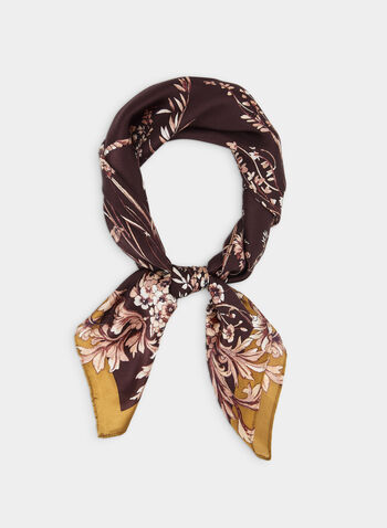 Floral Print Silk Scarf, Purple,  scarf, lightweight, silk, floral, fall 2019, winter 2019