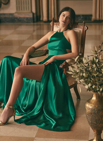 Apron Neck Satin Dress, Green,  prom dress, gown, a-line, satin, apron neck, crisscross, pockets, slit, train, full length, spring summer 2020