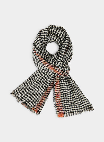 Houndstooth Print Scarf, Black,  monochrome, houndstooth, print, scarf, knit, oblong, blanket, fall 2019, winter 2019