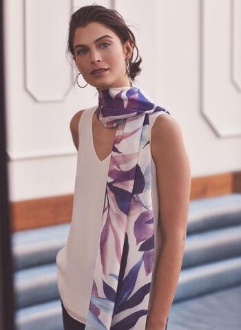 Leaf Print Silk Scarf, Blue,  scarf, accessories, silk, leaf print, spring summer 2021