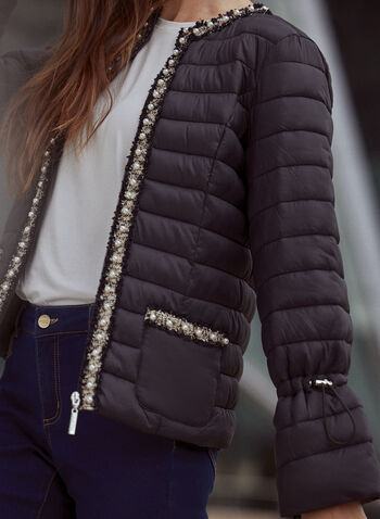 Joseph Ribkoff - Quilted Pearl Embellished Jacket, Black,  fall 2021, joseph ribkoff, outerwear, jacket, coat, online exclusive, crew neck, long sleeves, no collar, front pockets, zipper, contrast trim, pearl, metallic fiber, embellishment, details, quilted, puffer, puffed