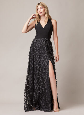 BA Nites - Floral Appliqué Sleeveless Dress, Black,  evening dress, sleeveless, v-neck, floral, crepe, mesh, spring summer 2020