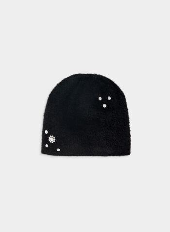 Karl Lagerfeld Paris - Tuque poilue à cristaux, Noir,  automne hiver 2019, tuque, chapeau, poil, cristaux, doux, duveteux, Karl Lagerfeld Paris, accessoire, accessoire d'hiver