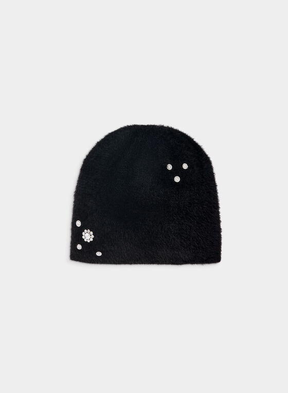 Karl Lagerfeld Paris - Tuque poilue à cristaux, Noir