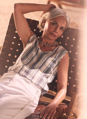 Striped Linen Blouse, Grey,  Spring Summer 2021, sleeveless, striped, top, blouse, v neck, ribbed, light, linen