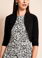 ¾ Sleeve Shirred Jersey Bolero, Black, hi-res