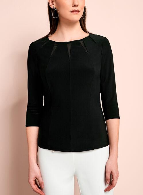 Haut jersey à col rond avec détails en maille, Noir, hi-res