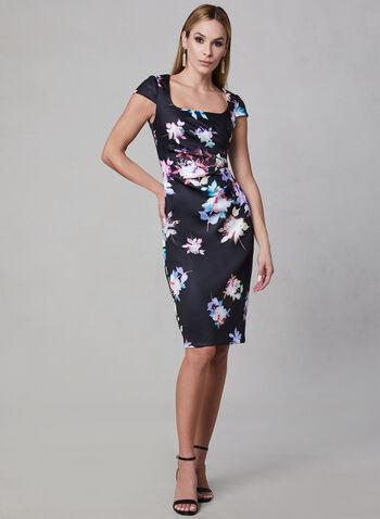 Adrianna Papell - Floral Print Sheath Dress, Black, hi-res,  short sleeves, cap sleeves, scuba, spring 2019