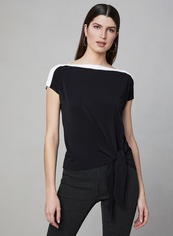 Contrast Border Crepe Top, Black, hi-res,  Canada, crepe, short sleeves, contrast border, spring 2019