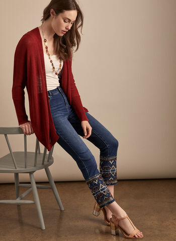 Sheer Open Front Cardigan, Red,  cardigan, open front, long sleeves, ribbed knit, open knit, sheer, spring summer 2020