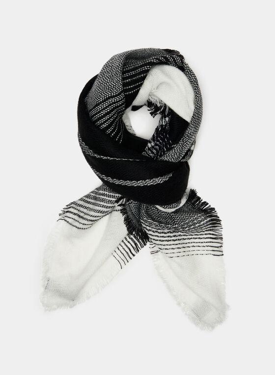Plaid Print Scarf, Black, hi-res