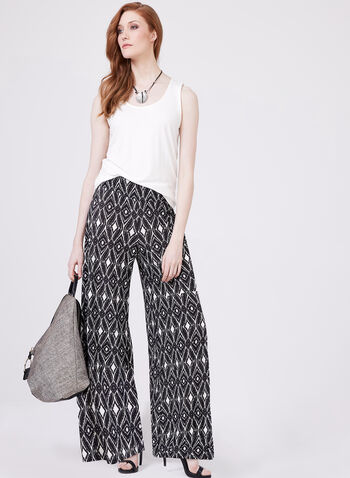 Ariella - Wide Leg Pull-On Pants, Black, hi-res