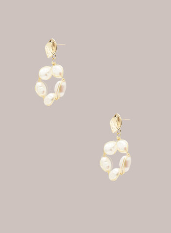 Ring Bottom Dangle Earrings, Off White,  jewellery, earrings, pearl, metallic, bead, spring summer 2021