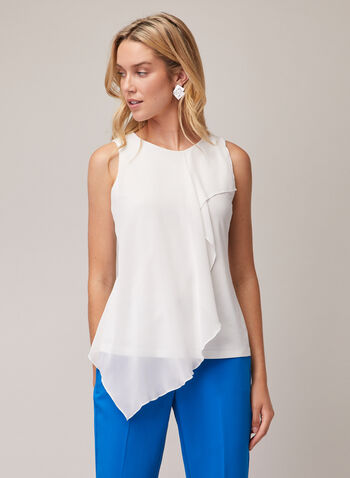 Sleeveless Layered Chiffon Top, Off White,  top, sleeveless, scoop neck, jersey, asymmetric, chiffon, layered, spring summer 2020