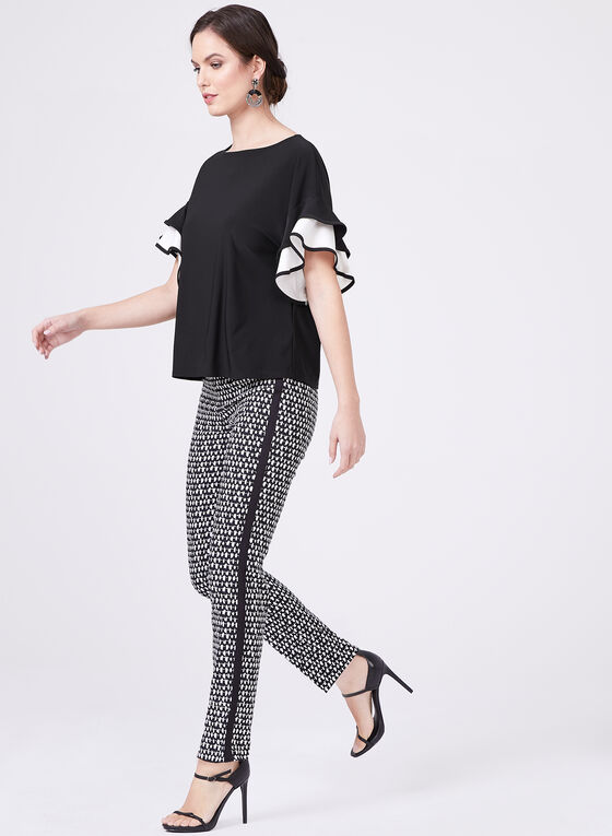Graphic Print Straight Leg Pants, Black, hi-res