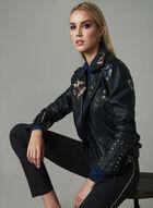 Frank Lyman - Embroidered Moto Jacket, Black, hi-res