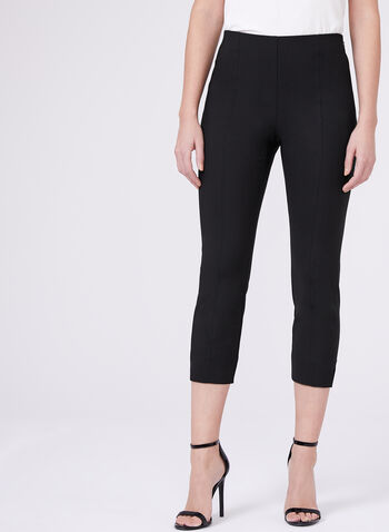 Stich Detail Capri Pants, Black, hi-res