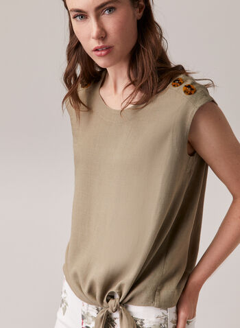 Linen Blend Knot Detail Blouse, Green,  blouse, linen, cap sleeves, round neck, button details, spring summer 2020