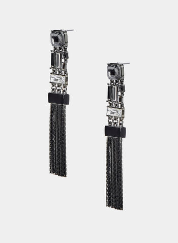 Chain Fringe Earrings, Black, hi-res