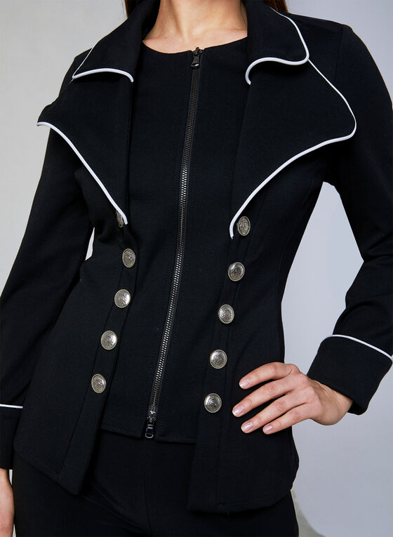 Joseph Ribkoff - Military-Inspired Jacket, Black, hi-res