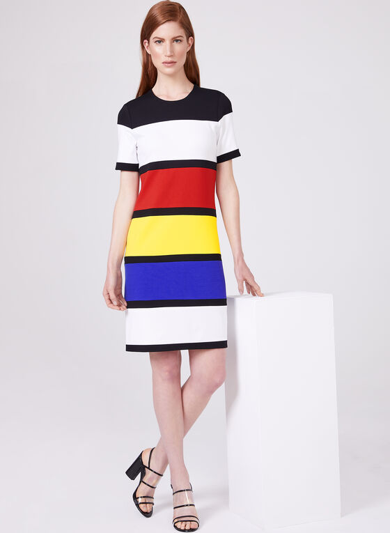 Cartise – Stripe Print Dress, Black, hi-res