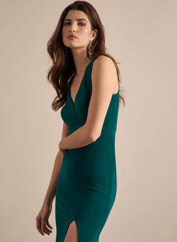 BA Nites - Robe droite sans manches à fente, Vert,  robe de soirée, sans manches, cache-cœur, fente, jersey, printemps été 2020