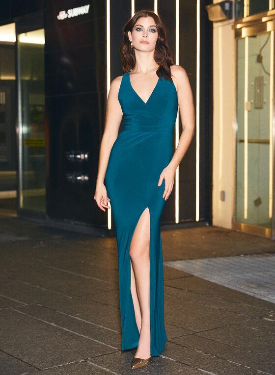 BA Nites - Sleeveless V-Neck Evening Dress, Green