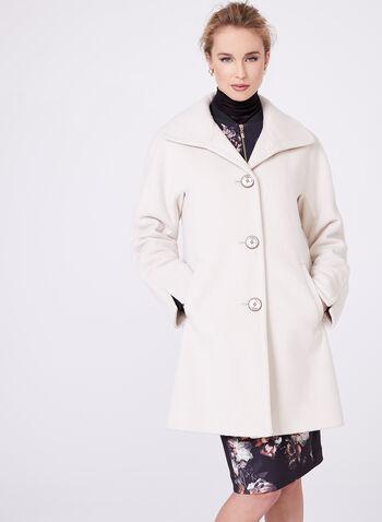 Ellen Tracy - Manteau en laine et angora, Blanc cassé, hi-res