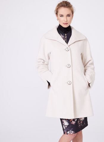 Ellen Tracy - Wool & Angora Blend Coat, Off White, hi-res