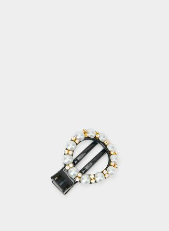 Barrette à anneau en perles et cristaux, Noir,  barrette, anneau, perles, strass, automne hiver 2019