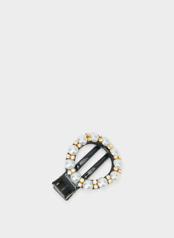 Pearl & Crystal Embellished Barrette, Black