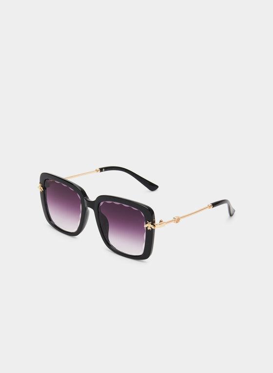 Oversized Square Sunglasses, Black, hi-res