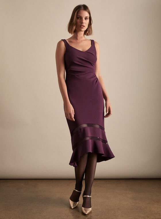 Adrianna Papell - V-Neck Flared Hemline Dress, Purple
