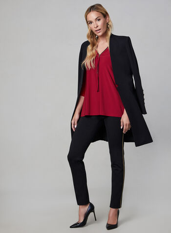 Split V-Neck Top, Red,  zippered top, jersey sweater, asymmetric top