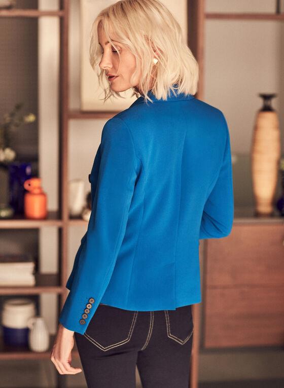 Blazer à double boutonnage décoratif, Bleu