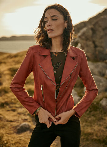 Vex - Zipper Detail Faux Leather Jacket, Beige,  jacket, faux leather, zipper detail, notched collar, fall winter 2020