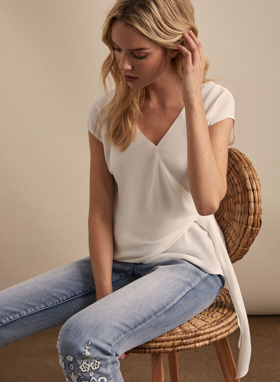 Cap Sleeve Blouse, Off White