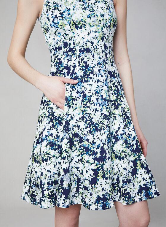 Maggy London - Robe fleurie ajustée et évasée, Bleu