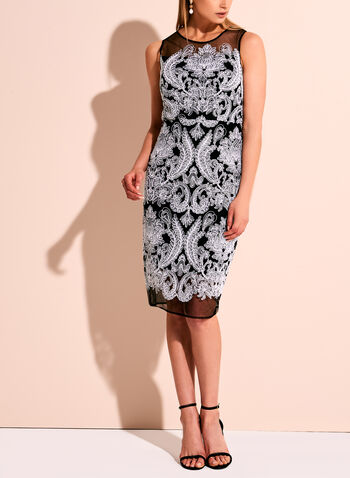 Jax Paisley Embroidered Mesh Dress, , hi-res