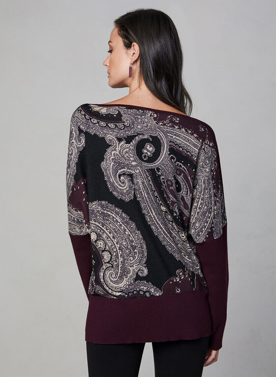 Paisley Print Knit Sweater, Purple, hi-res
