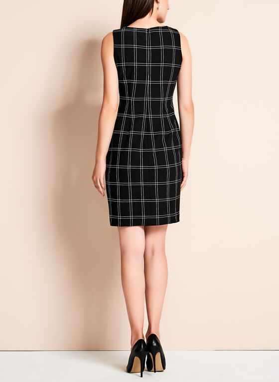 Ivanka Trump - Grid Print Scuba Dress, Black, hi-res